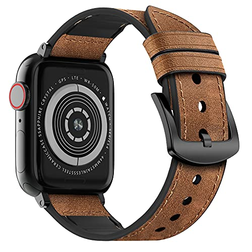 MARGE PLUS Compatible Apple Watch Band 44mm 42mm, Sweatproof Hybrid Genuine Leather and Silicone Sports Watch Band Replacement for iWatch SE Series 6 5 4 3 2 1, Blue White/Space Gray
