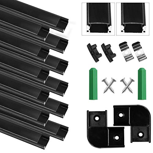 Perfil LED Aluminio - 12 x 1 metro Aluminio Perfil U- Forma Negro, Con tapa de difusor translúcida, tapa de extremo y clip de montaje metálico, Para tira de LED, 12M