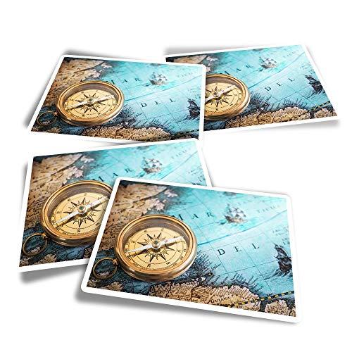 Pegatinas rectangulares de vinilo (juego de 4) – brújula vintage mapa vela océano divertidos adhesivos para portátiles, tabletas, equipaje, reserva de chatarra, frigoríficos #44690