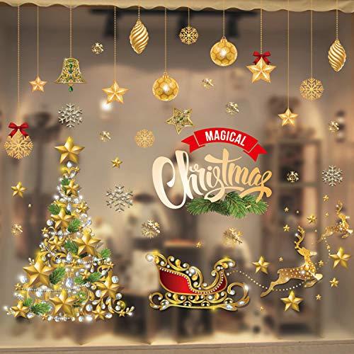 WELLXUNK Weihnachtsdeko Aufkleber Fensterbilder Fenstersticker Weihnachtsmann Fensterdeko, Weihnachten Winter Dekoration für Türen, Schaufenster, PVC Fenstertattoo Set