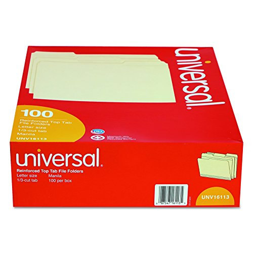 Universal 16113 File Folders, 1/3 Cut Assorted, Two-Ply Top Tab, Letter, Manila (Box of 100)