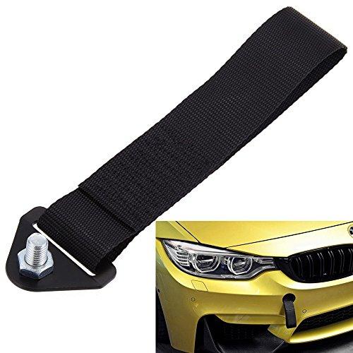 LEAGUE&CO Universal Auto Abschleppband Abschlepp Schlaufe Abschlepphaken für BMW Toyota (Schwarz)