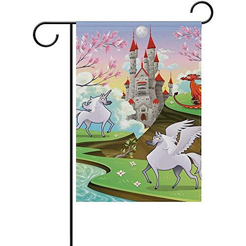 ALLdelete# Garden Flag Garten Flagge Pegasus Einhorn Und Drachenhof Haus Flagge Banner Decor Flagge Für Zuhause Indoor Outdoor Decor, 70X102 cm (28X40 In)