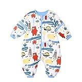 Bebé Saco de Dormir con Piernas Invierno Algodón Pijama Dividida Manga Cálido Mamelucos Dibujos Animados Mono Niños Niñas 4-6 años 3.5Tog Cocodrilo azul