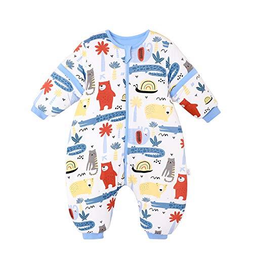 Bebé Saco de Dormir con Piernas Invierno Algodón Pijama Dividida Manga Cálido Mamelucos Dibujos Animados Mono Niños Niñas 2-4 años Cocodrilo azul