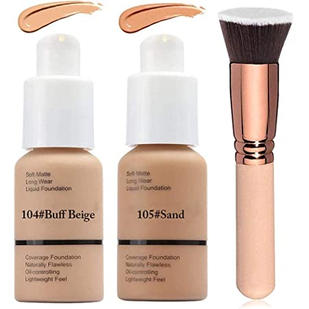2 Colors Matte Liquid Foundation 104 & 105 Full Coverage Foundation Makeup with Foundation Brush, Matte Oil Control Facial Blemish Concealer Foundation for Women (104#Buff Beige&105#Sand)