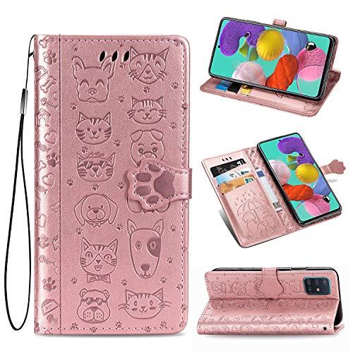 ZTOFERA Flip Hülle für Samsung Galaxy A51, Süße Katze H& Muster Brieftasche mit [Magnetverschluss] [Kartenfächer] [Ständer] [Handschlaufe], Slim Handyhülle für Samsung A51 - Roségold
