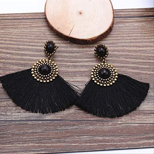Orejeras para mujer Pendiente de borla negra Piedra roja Pendientes largos con flecos largos para mujer Pendiente étnico con forma de abanico Pendientenegro