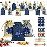 Adventskalender zum Befüllen, 24 Weihnachtskalender Stoffsäckchen zum Selberfüllen, mit Zahlen Aufkleber Mini Holzklammern und Hanfseile, Jutesäckchen zum selber befüllbar und Aufhängen Bastelset