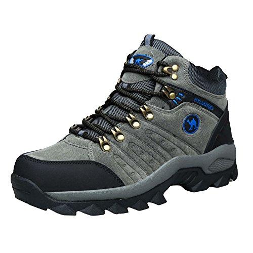 3C Camel HUAYU 5696 Mens Walking Hiking Trail Waterproof Ventilated Mid High-Cut Gray Boots (7, Gray)