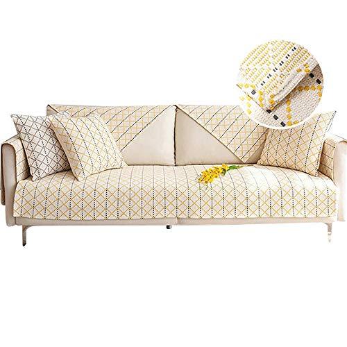Fundas de sofá Antideslizantes de algodón,combinación Libre,Acolchado,seccional,Cojines para sofá,Protector de Muebles,Amarillo,70x240cm