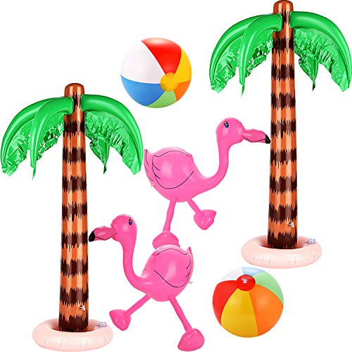 meekoo 6 Stücke Aufblasbare Palmen Baum Jumbo Kokosnus Bäume Rosa Flamingos Bunte Strand Bälle Regenbogen Farbe Bälle für Hawaii Strand Luau Party Hintergrund Dekoration