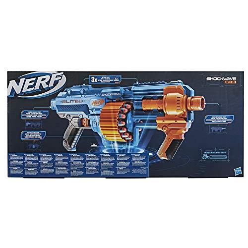 Nerf Elite 2.0 Shockwave RD-15 Blaster, 30 Nerf Darts, 15-Dart Rotating Drum, Pump-Action Slam Fire, Built-In Customising Capabilities