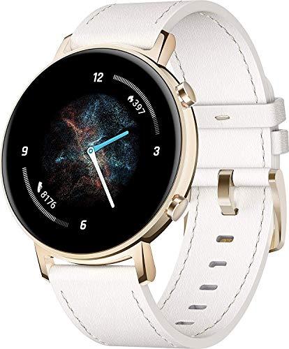 HUAWEI Watch GT 2 Smartwatch (42 mm Full-Color-AMOLED Touchscreen, SpO2-Monitoring, Herzfrequenzmessung, Musik Wiedergabe, 5ATM wasserdicht, GPS) Frosty White [Exklusiv +5 EUR Gutschein]