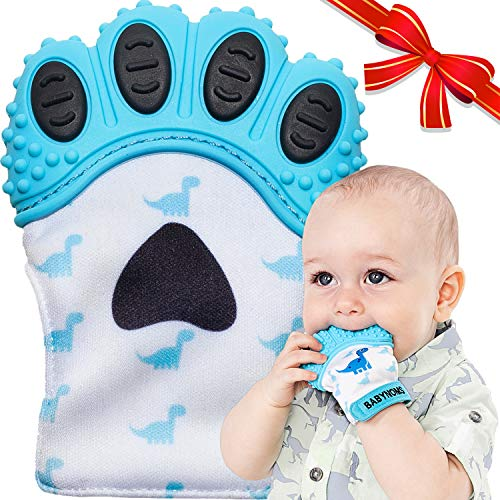 BabyNoms Teething Mitten | The Original Teething Paw | Best Silicone Teething Toys or Teething Ring Provides SelfSoothing Teething Relief | Dino Blue Teether