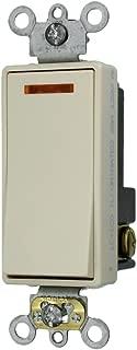 Leviton 5631-2T 20-Amp 120-Volt Decora Plus Rocker Lighted Handle, Illuminated OFF Single-Pole AC Quiet Switch, Light Almond