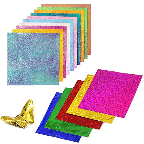 200 Hojas Origami de Colores, Papel para Papiroflexia, Papel Origami de Doble Cara, Doble Cara DIY Brillantina Origami Hecho a Mano para Doblar Rosas, Estrellas, Aviones, Grúas (Color Aleatorio)