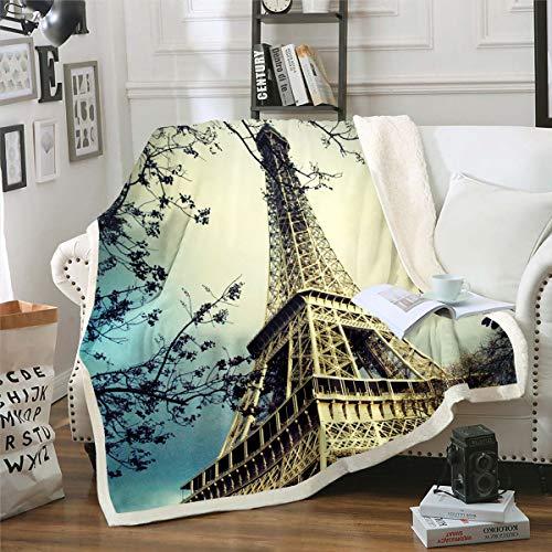 Manta de sherpa de París con estampado de la Torre Eiffel en 3D, manta de forro polar para niños y niñas, estilo francés, manta de felpa para sofá cama, sofá cama individual de 132 x 152 cm
