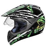 Studds Motocross D5 Helmet With Visor (Black N4, XL)