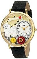 ビション 黒レザーバンド ゴールドフレーム腕時計#G0130010