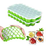 Ice Cube Trays with Lids,2-Pack 74 Ice Cubes Silica Gel Flexible and BPA Free with Spill-Resistant Removable...