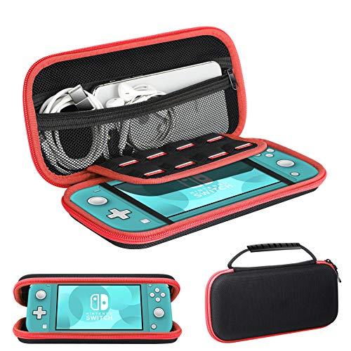 Ztotops Tasche Kompatibel für Nintendo Switch Lite, mit Stauraum für 8 Spiele, Aufbewahrungs Tasche/Hülle/Schutzhülle auf die Reise für Nintendo Switch Lite Konsole & Accesoires -Rot