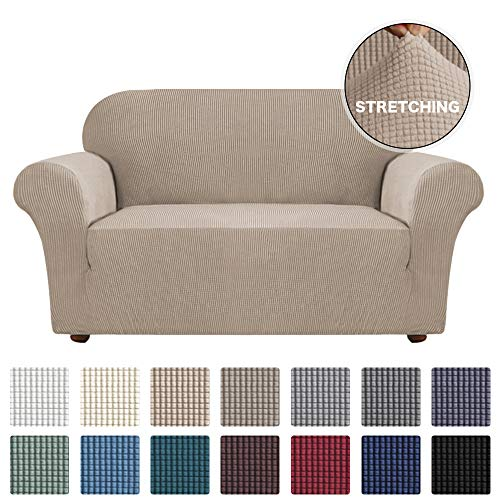 Loveseat Slipcover 1-Piece Spandex Sofa Cover for Loveseat Stretch Furniture Protector/Cover for Sofa and Loveseats Form Fit With Elatic Bottom Couch Cover for 2 Cushion Couch, Loveseat, Khaki