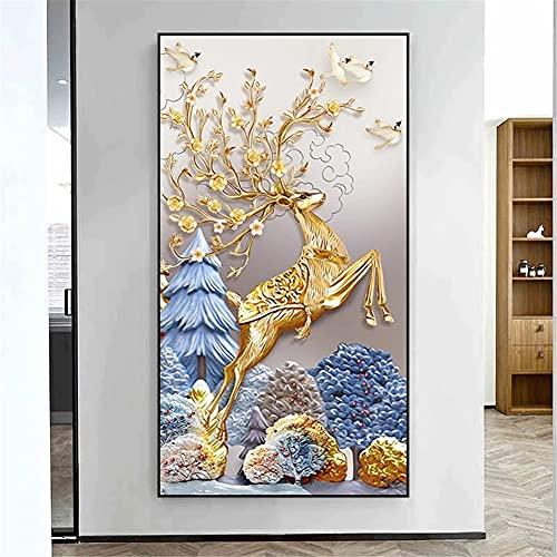 DIY 5D Large Diamond Painting Ciervo dorado Kits de Perforación Completos Rhinestone Picture Art Craft para decoración de la Pared del hogar 70x200cm Square Drill