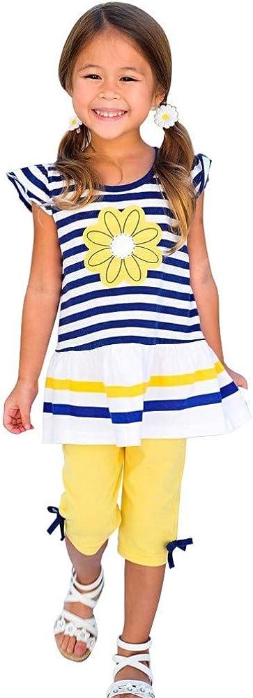 WEUIE Kids Girls Flower Stripe Ruffle Shirt Top Dress Bow Capris Pant Leggings 2PCS Clothing Set