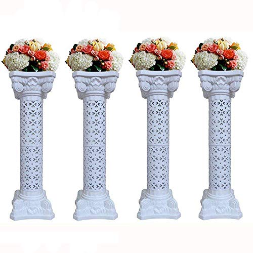 "4Pcs Elegant Wedding Roman Column Set Pillars Decoration Party Flower Pot Columns Decor Adjustable Height And Holds Flower Plate Plastic Wedding Event Column(40"" in - 4 Columns)"