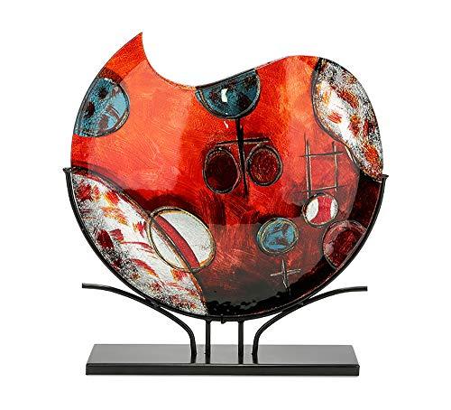 GILDE GLAS art Design-Vase - Dekoobjekt handgefertigt aus Glas H 47,5 cm