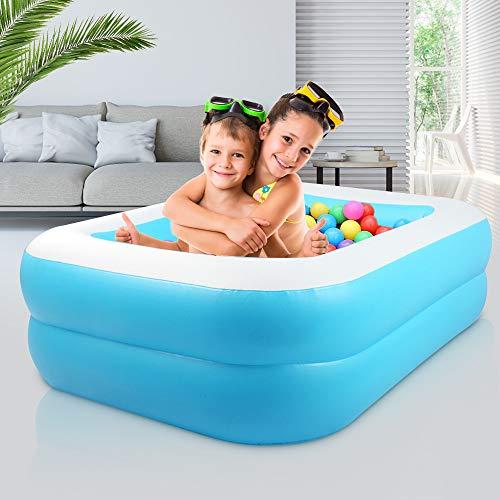 KKTECT Piscina Inflable, Segundo Anillo PVC Resistente Piscina Portátil Rectangular Familiar, para niños, Adultos al Aire Libre Juego de jardín Interior Azul (L)