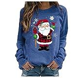 Zilosconcy Sudadera para Mujer Navidad Moda Impresión Suelta Casual Manga Larga Jerseys Sudaderas Adolescentes Chicas Cuello Alto Otoño invierno Blusa Tops Suéter Abrigo Deportiva Basico