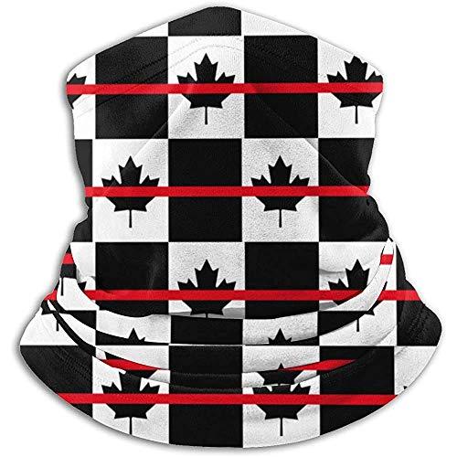 Línea roja fina Bandera de Canadá Patrón Calentador de cuello Polaina Pasamontañas Sombreros de invierno Sombreros