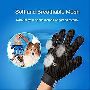 Zhongsheng Gant pour Animal Domestique: Outil de toilettage pour Chien et Chat + Gant de Meubles Pet Hair Remover - - Brosse à Poils Longs et Courts - Gentle démêlage (Bleu, Une Paire)