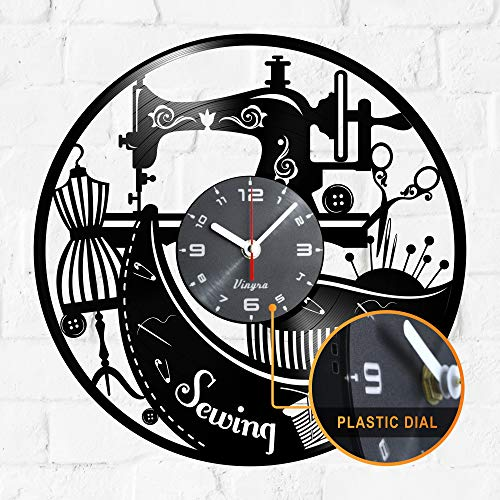 Sewing Machine Clock Vinyl - Sewing Machine Vinyl Record Wall LP Clock - Sewing Machine Gifts for Sewing Lovers - Sewing Machine Themed Art Wall Room Home Decor Sewing Wall Gift Retro Clock Black