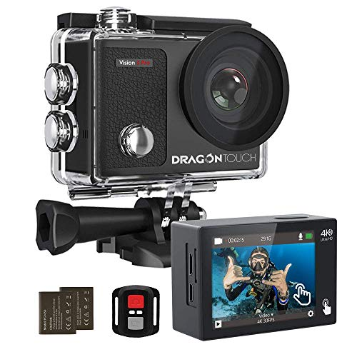 Dragon Touch 4K Action Camera Touch Screen 16MP Vision 3 Pro PC Web Camera 100 feet Waterproof Camera Adjustable View Angle WiFi Sports Camera with Remote Control and Helmet Accessories Kit (Renewed)