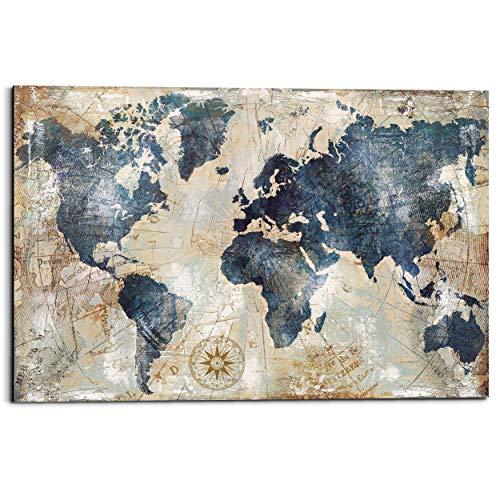 Schilderij Deco Panel Wereldkaart Vintage - Landkaart - Continenten - 90 x 60 cm