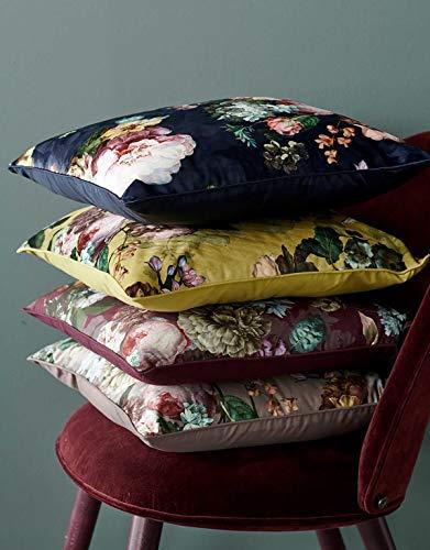 ESSENZA Dekokissen Quadratisch Fleur Blumen Pfingstrosen Tulpen Polyester Nightblue, 50x50 cm