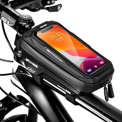 ENONEO Borsa Bicicletta Impermeabile Borsa Telaio Bici con Touchscreen Sensibile Borsa da Manubrio Bici Borsa Bici Cellulare per Telefono 6,5' (Nero)