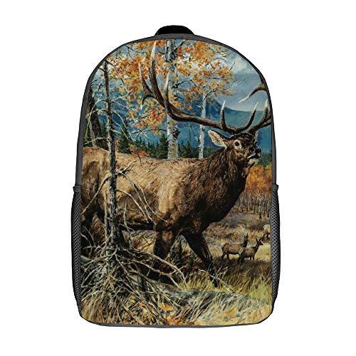 Mochila para portátil de moda para mujer cómoda bolsa de escuela casual mochilas de viaje para viajes de fin de semana, Alce Arte (Blanco) - TB-ZXY-0w3uy0hkqrl6-1