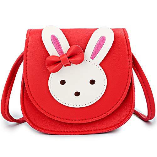 KEREDA Bolso bandolera para niños y niñas, bonito conejo, de piel sintética y poliuretano, para niñas de 2 a 10 años, rojo, Einheitsgröße