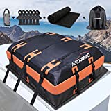 AUTOOMMO Rooftop Cargo Carrier 15 Cubic Feet Car Top Carrier Roof Bag for Vehicle, SUV and Truck, 500D PVC Waterproof Car Roof Bag with Storage Bag, Anti-Slip Mat, 6 Door Hooks, Lock