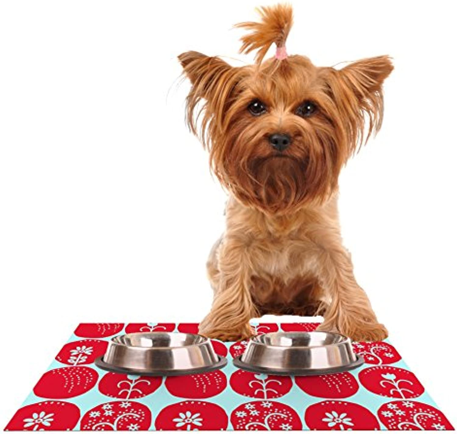Kess InHouse Anneline Sophia Dotty Paper Cut Red  Circles bluee Feeding Mat for Pet Bowls, 24 by 15