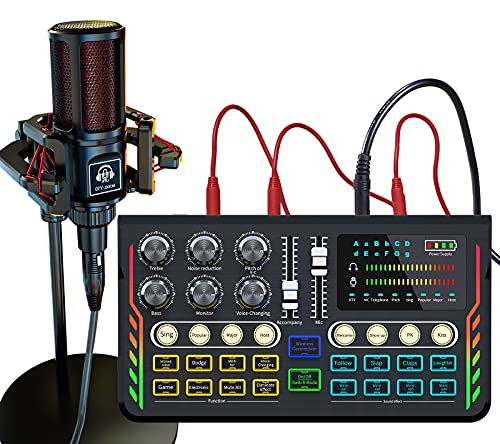 Podcast Microphone Live Sound Card Kit, Y10 Studio Condenser Mic & P2 Sound Board/Audio Mixer/Voice Changer/Audio Interface for Streaming/Recording/Gaming/Vlogging/Karaoke/PC/TIK tok/YouTube (P2+Y10)
