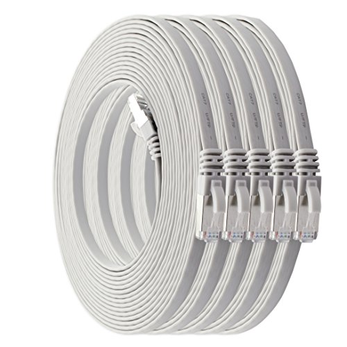 1m - CAT7 Cable de Red Plano Blanco - 5 Piezas 10 Gbit/s Gigabit LAN Piso Flaco Cable Patch Compatible con Compatible con CAT5 CAT6 CAT7 CAT8 Cat8 Cinta LAN Cable