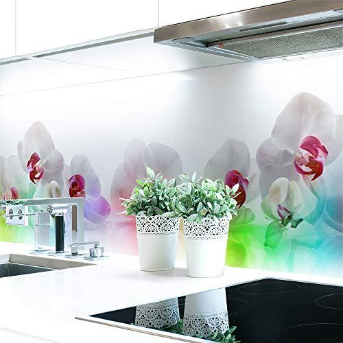 Küchenrückwand Orchideen Bunt Premium Hart-PVC 0,4 mm selbstklebend 220x60cm