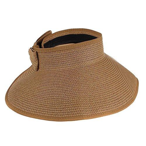 Fletion da donna pieghevole Roll Up spiaggia sole visiera tesa molto larga Bowtie paglia cappelli Berretti