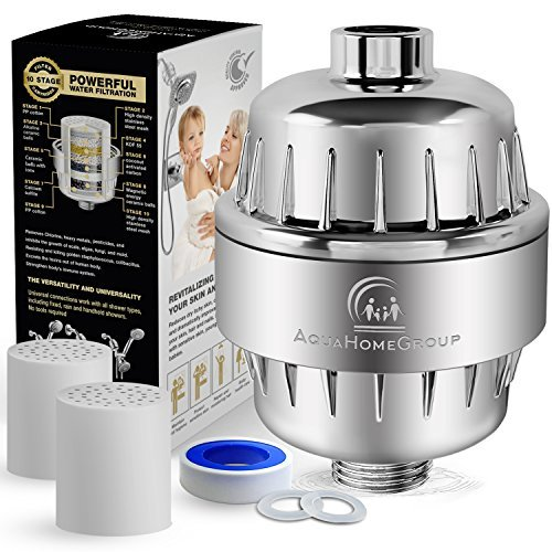 AquaHomeGroup Shower Water Filter Multi-Stage - 2 Cartridge Included - Removes Chlorine, Impurities, Unpleasant Odors - Boosts Skin and Hair Health - For Any Shower Head and Handheld Shower