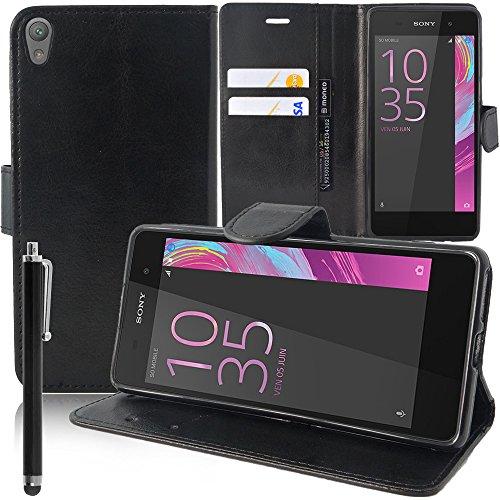 ANNART - Funda con tapa y función atril para Sony Xperia E5 F3311 F3313 (incluye lápiz capacitivo), color negro